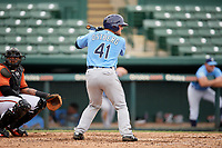 Tampa Bay Rays Erik Ostberg (41) at bat during an Instructional League game against the Baltimore Orioles on October 5, 2017 at Ed Smith Stadium in Sarasota, Florida.  (Mike Janes/Four Seam Images)