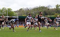 Photo: Simon Wise/Richard Lane Photography. London Wasps v Bath Rugby. Amlin Challenge Cup Semi Final. 27/04/2014. Wasps' Will Helu breaks for his try.