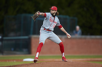St. John's Red Storm starting pitcher Nick Mondak (14) in action against the Western Carolina Catamounts at Childress Field on March 12, 2021 in Cullowhee, North Carolina. (Brian Westerholt/Four Seam Images)