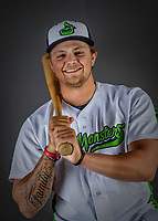 11 June 2019: Vermont Lake Monsters catcher Matt Cross poses for a portrait on Photo Day at Centennial Field in Burlington, Vermont. The Lake Monsters are the Single-A minor league affiliate of the Oakland Athletics and play a short season in the NY Penn League Stedler Division. Mandatory Credit: Ed Wolfstein Photo *** RAW (NEF) Image File Available ***