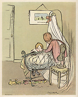 "Two children admire the new baby:  ""Mum found him in an Easter egg ..."". / Cartoon by Poulbot in Le Rire 6 April 1907 Back Page / 1907"