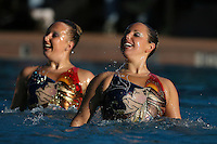 STANFORD, CA - FEBRUARY 7:  Taylor Durand (left) and Maria Koroleva (right) of the Stanford Cardinal during Stanford's 88-78 win against the Incarnate Word Cardinals on February 7, 2009 at Avery Aquatic Center in Stanford, California.