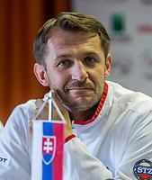 Bratislava, Slovenia, April 21, 2017,  FedCup: Slovakia-Netherlands, Draw ceremony, Slovakian captain: Matej Liptak<br /> Photo: Tennisimages/Henk Koster