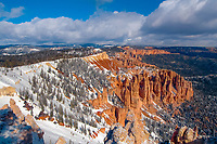 winter snow on red rocks and hoodoos, Bryce Canyon National Park, Utah, USA