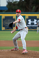 Matt Waldron (10) of the Nebraska Cornhuskers pitches against the Long Beach State Dirtbags in the second game of a doubleheader at Blair Field on March 5, 2016 in Long Beach, California. Long Beach State defeated Nebraska, 3-1. (Larry Goren/Four Seam Images)