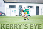A tussle for possession between Aodhan Curley of Ballyduff and Jedd Maunsell of Abbeydorney in the Minor Hurling Championship semi final.