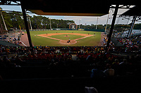 General view of a Collegiate Summer League game between the Macon Bacon and Savannah Bananas on July 15, 2020 at Grayson Stadium in Savannah, Georgia.  (Mike Janes/Four Seam Images)