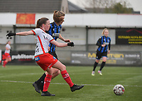 Noa Delhaye (12) of Zulte-Waregem and Marie Minnaert (13) of Club Brugge  pictured during a female soccer game between SV Zulte - Waregem and Club Brugge YLA on the 13 th matchday of the 2020 - 2021 season of Belgian Scooore Womens Super League , saturday 6 th of February 2021  in Zulte , Belgium . PHOTO SPORTPIX.BE   SPP   DIRK VUYLSTEKE