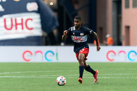 FOXBOROUGH, MA - AUGUST 8: Maciel #13 of New England Revolution brings the ball forward during a game between Philadelphia Union and New England Revolution at Gillette Stadium on August 8, 2021 in Foxborough, Massachusetts.