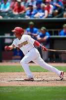 Memphis Redbirds shortstop Wilfredo Tovar (71) follows through on a swing during a game against the Iowa Cubs on May 29, 2017 at AutoZone Park in Memphis, Tennessee.  Memphis defeated Iowa 6-5.  (Mike Janes/Four Seam Images)