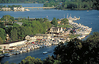 Aerial of Kalamazoo River city. Saugatuck Michigan USA.