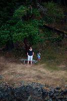 Alex and Max at Horton's Hook, Shaw Island, Washington, US