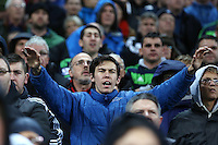 Swansea City fans pictured during the Barclays Premier League Match between Manchester City and Swansea City played at the Etihad Stadium, Manchester on 12th December 2015