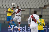 13th October 2020; National Stadium of Peru, Lima, Peru; FIFA World Cup 2022 qualifying; Peru versus Brazil;  Jefferson Farfán of Peru and Casemiro of Brazil challenge for the header