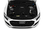 Car Stock 2019 Audi Q8 - 5 Door SUV Engine  high angle detail view