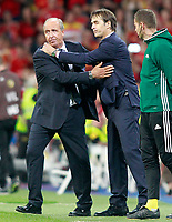 Spain's coach Julen Lopetegui (r) and Italy's coach Gian Piero Ventura after FIFA World Cup 2018 Qualifying Round match. September 2,2017.(ALTERPHOTOS/Acero)