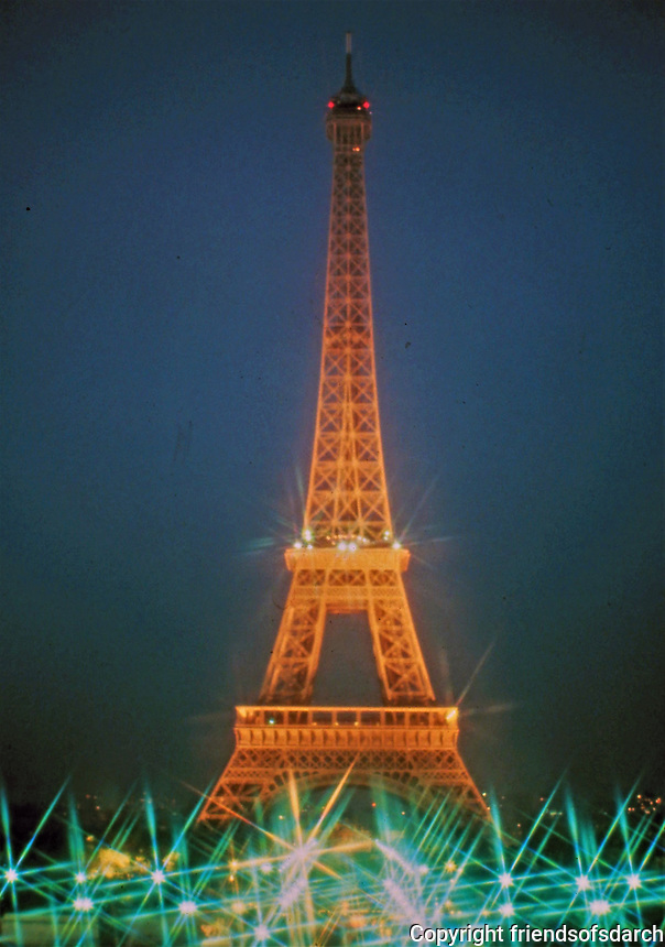 The Eiffel Tower, a wrought-iron lattice tower on the Champ de Mars in Paris, France. Named after the engineer Gustave Eiffel, whose company designed and built the tower. 1887-89