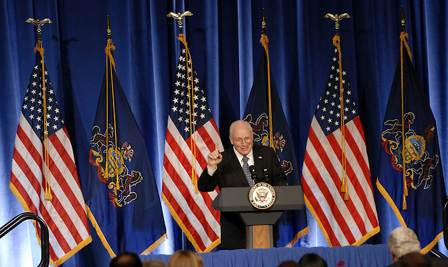 Vice President Dick Cheney addresses the Pennsylvania State Victory Committee at a Republican Party fund raiser Friday, Feb. 8, 2008 in Harrisburg, PA. (AP Photo/Bradley C Bower)