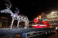 Pictured: Father Christmas on one of the floats at the Christmas parade in Swansea, Wales, UK. Sunday 19 November 2018<br />