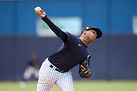 FCL Yankees pitcher Carlos Gomez (30) during a game against the FCL Blue Jays on June 29, 2021 at the Yankees Minor League Complex in Tampa, Florida.  (Mike Janes/Four Seam Images)