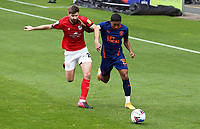 Blackpool's Demi Mitchell holds off the challenge from  Crewe Alexandra's Luke Murphy<br /> <br /> Photographer Rich Linley/CameraSport<br /> <br /> The EFL Sky Bet League One - Crewe Alexandra v Blackpool - Saturday 17th October 2020 - Gresty Road - Crewe<br /> <br /> World Copyright © 2020 CameraSport. All rights reserved. 43 Linden Ave. Countesthorpe. Leicester. England. LE8 5PG - Tel: +44 (0) 116 277 4147 - admin@camerasport.com - www.camerasport.com