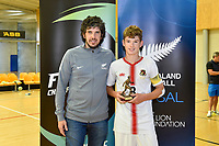 MVP trophy winner, Isaac Bates of Hamilton Boys' High School, Futsal NZ Secondary Schools Junior Boys Final between Hamilton Boys High School and Selwyn College at ASB Sports Centre, Wellington on 26 March 2021.<br /> Copyright photo: Masanori Udagawa /  www.photosport.nz