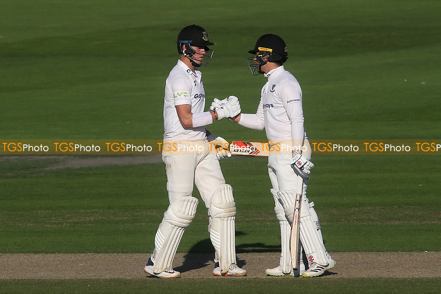 Sussex batsmen, Ali Orr and Tom Haines shake hands after a century opening partnership during Sussex CCC vs Middlesex CCC, LV Insurance County Championship Division 3 Cricket at The 1st Central County Ground on 7th September 2021