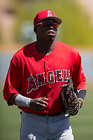 Los Angeles Angels outfielder Johan Sala (5) jogs off the field between innings of an Extended Spring Training game against the Chicago Cubs at Sloan Park on April 14, 2018 in Mesa, Arizona. (Zachary Lucy/Four Seam Images)