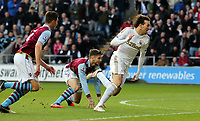 Tuesday 01 January 2013<br /> Pictured: (L-R) Ciaran Clark, Chris Herd, Michu.<br /> Re: Barclays Premier League, Swansea City FC v Aston Villa at the Liberty Stadium, south Wales.