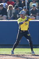A.J. Balta #33 of the Oregon Ducks bats against the Loyola Marymount Lions at Page Stadium on February 23, 2014 in Los Angeles, California. Oregon defeated Loyola, 4-3. (Larry Goren/Four Seam Images)