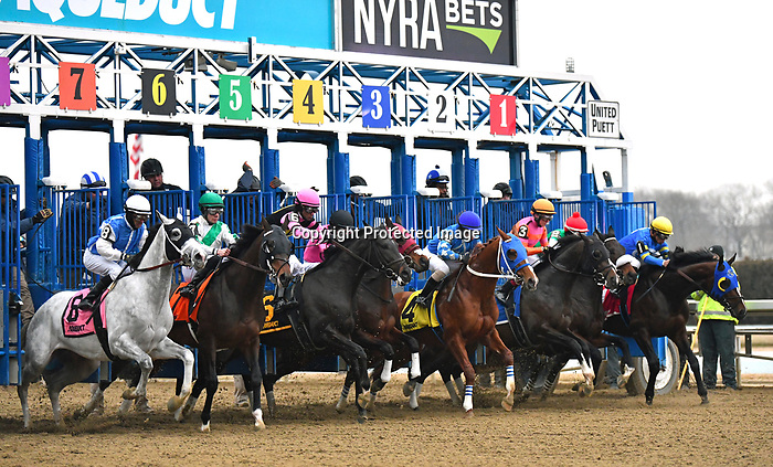 February 1st, 2020: The start of the 140th Withers Stakes won by #3 Max Player and trained by  Linda Rice. The race was held at Aqueduct Race Track in Ozone New York. Heary/Eclipse Sportswire/CSM