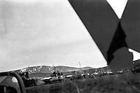 A column of Yugoslav Army Tanks prepare to leave their barracks 10k west of Pristina.