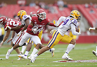 Arkansas defensive back LaDarrius Bishop (24) covers LSU cornerback Derek Stingley Jr. (24), Saturday, November 21, 2020 during the third quarter of a football game at Donald W. Reynolds Razorback Stadium in Fayetteville. Check out nwaonline.com/201122Daily/ for today's photo gallery. <br /> (NWA Democrat-Gazette/Charlie Kaijo)