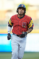 Harold Castro (3) of the Toledo Mud Hens rounds the bases after hitting a home run against the Charlotte Knights at BB&T BallPark on April 23, 2019 in Charlotte, North Carolina. The Knights defeated the Mud Hens 11-9 in 10 innings. (Brian Westerholt/Four Seam Images)