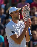 England, London, Juli 04, 2015, Tennis, Wimbledon, Ivo Karlovic (CRO) makes a gesture in his match against Jo-Wilfried Tsonga (FRA)<br /> Photo: Tennisimages/Henk Koster