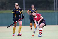 Upminster take the push back to start the 2020-21 hockey season during Romford HC Ladies vs Upminster HC Ladies 3rd XI, East Region League Field Hockey at Bower Park Academy on 26th September 2020