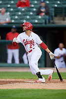 Peoria Chiefs first baseman Ryan McCarvel (27) follows through on a swing during a game against the West Michigan Whitecaps on May 9, 2017 at Dozer Park in Peoria, Illinois.  Peoria defeated West Michigan 3-1.  (Mike Janes/Four Seam Images)