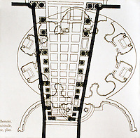 Plan of the church of Sant'Andrea, an important example of Roman Baroque architecture designed by Gian Lorenzo Bernini with Giovanni de'Rossi. 1661