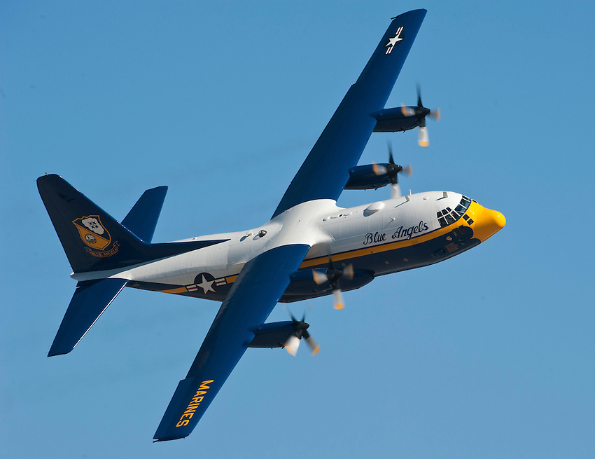 """121014-N-DR144-726 SAN DIEGO (October 14, 2012)-  """"Fat Albert"""" a C-130 assigned to the U.S. Navy flight demonstration squadron, the Blue Angels, performs during the Marine Corps Air Station Miramar 2012 Air Show. The air show, held October 12-14, was themed """"Marines In Flight: Celebrating 50 Years of Space Exploration."""" (U.S. Navy photo by Mass Communication Specialist 1st Class James R. Evans / RELEASED)"""