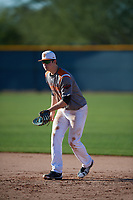 Gus Collins (20) of Pryor High School in Chouteau, Oklahoma during the Baseball Factory All-America Pre-Season Tournament, powered by Under Armour, on January 13, 2018 at Sloan Park Complex in Mesa, Arizona.  (Mike Janes/Four Seam Images)