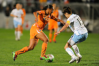 Rosana (11) of Sky Blue FC is defended by Kate Markgraf (15) of the Chicago Red Stars. Sky Blue FC defeated the Chicago Red Stars 1-0 in a Women's Professional Soccer (WPS) match at Yurcak Field in Piscataway, NJ, on April 11, 2010.