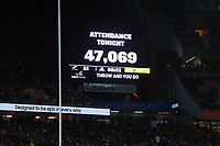 The crowd attendance of 47,069 is flashed on the big screen during the Bledisloe Cup rugby match between the New Zealand All Blacks and Australia Wallabies at Eden Park in Auckland, New Zealand on Saturday, 7 August 2021. Photo: Dave Lintott / lintottphoto.co.nz