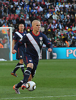 Midfielder Michael Bradley looks for an angle of attack carrying the ball in transition. The United States came from a 2-0 halftime deficit to Slovenia to earn a 2-2 draw their second match of play in Group C of the 2010 FIFA World Cup.