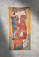 The Minoan 'Cup Bearer' from the 'Procession Fresco', wall art from the South Prpylaeum, Knossos Palace, 1500-1400 BC . Heraklion Archaeological Museum.<br /> <br /> The 'Cup Bearer' depicts a youth with long black hair, a naked torso and a richly decorated kilt carrying a large silver rhuyhon ceremonial vessel. This large Minoan fresco of many figure in procession would have decorated the corridor between the West Porch and the South Propylaeum of Knossos Palace. Both sides of the corridor were painted with hundreds of male and femal;e figures carrying precious utensils and vessels, probably depicting gift bearers to the ruler of the Palace. The composition is much like those found in the Palaces and tombs of Egypt and the near east at the time. Neopalatial final period.