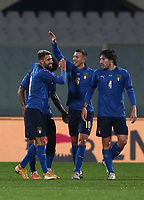 FBL- Friendly  football match Italy vs Estonia at the Artemio Franchi stadium in Florence on November 11, 2020.<br /> Italy's Vincenzo Grifo (l) celebrates after scoring with his teammates duringthe friendly football match between Italy snd Estonia at the Artemio Franchi stadium in Florence on November 11, 2020.<br /> UPDATE IMAGES PRESS/Isabella Bonotto