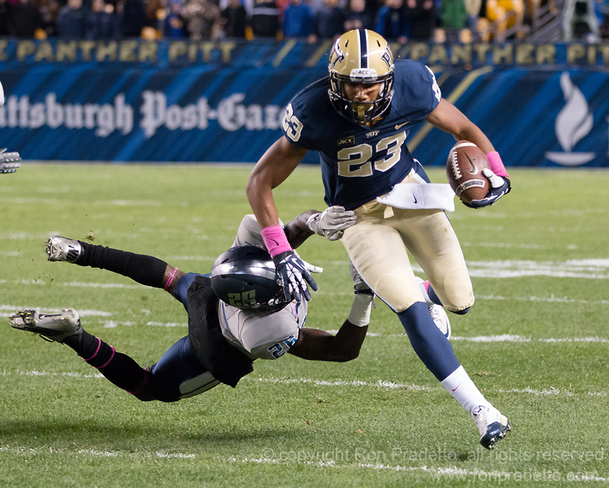 Tyler Boyd (23). The Pitt Panthers defeated the Old Dominion Monarchs 35-24 at Heinz Field, Pittsburgh, Pennsylvania on October 19, 2013.
