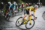 Yellow Jersey Mathieu Van Der Poel (NED) Alpecin-Fenix descends during Stage 8 of the 2021 Tour de France, running 150.8km from Oyonnax to Le Grand-Bornand, France. 3rd July 2021.  <br /> Picture: A.S.O./Pauline Ballet | Cyclefile<br /> <br /> All photos usage must carry mandatory copyright credit (© Cyclefile | A.S.O./Pauline Ballet)
