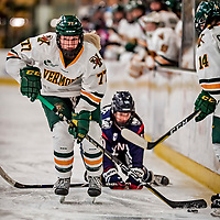 9 February 2018: University of Vermont Catamount Defender Daria O'Neill, a Junior from Cochrane, Alberta, in second period action against the University of Connecticut Huskies at Gutterson Fieldhouse in Burlington, Vermont. The Lady Cats defeated the Huskies 1-0 the first game of their weekend Hockey East series. Mandatory Credit: Ed Wolfstein Photo *** RAW (NEF) Image File Available ***