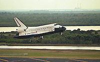 Space Shuttle Endeavour glides to Earth at Kennedy Space Center, Titusville, FL, to conclude the STS 99 mission in February 2000.  (Photo by Brian Cleary/www.bcpix.com)