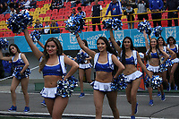 BOGOTÁ - COLOMBIA, 19-08-2018:Porristas de Millonarios durante el partido entre Millonarios y  Deportivo Cali  partido por la fecha 5 de la Liga Águila II 2018 jugado en el estadio Nemesio Camacho El Campín de la ciudad de Bogotá. / Cheerleaders during match Millonarios  and Deportivo Cali  for the date 5 of the Liga Aguila II 2018 played at the Nemesio Camacho El Campin Stadium in Bogota city. Photo: VizzorImage / Felipe Caicedo / Staff.
